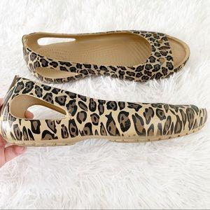 CROCS Leopard Print Peep Toe Flats See Description